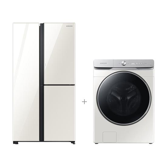 그랑데 AI 세탁기 23kg 그레이지+양문형 냉장고 3도어 846L
