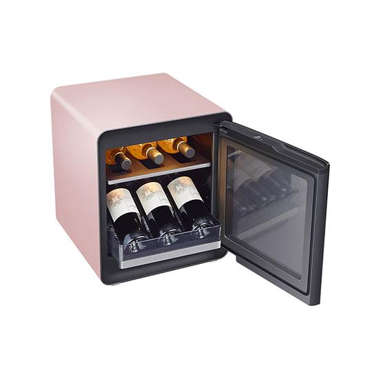 비스포크 큐브냉장고 25L+와인&비어 수납존 프라임핑크