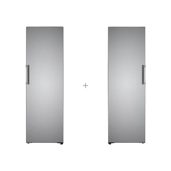 오브제컬렉션 컨버터블 냉동전용고 321L 스테인리스 실버+오브제컬렉션 컨버터블 냉장전용고 384L 스테인리스 실버