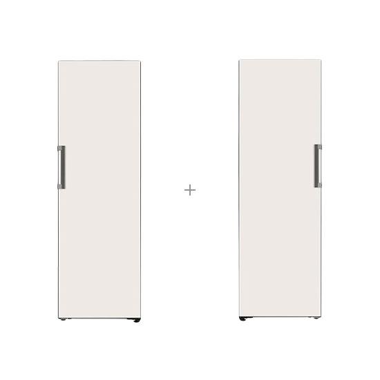 오브제컬렉션 컨버터블 냉동전용고 321L 베이지+오브제컬렉션 컨버터블 냉장전용고 384L 베이지