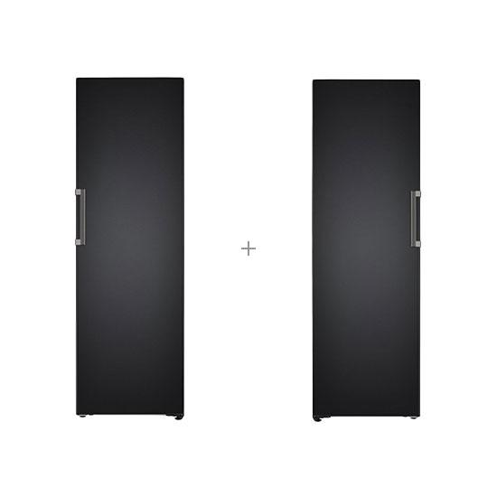 오브제컬렉션 컨버터블 냉장전용고 384L 맨해튼미드나잇+오브제컬렉션 컨버터블 냉동전용고 321L 맨해튼미드나잇