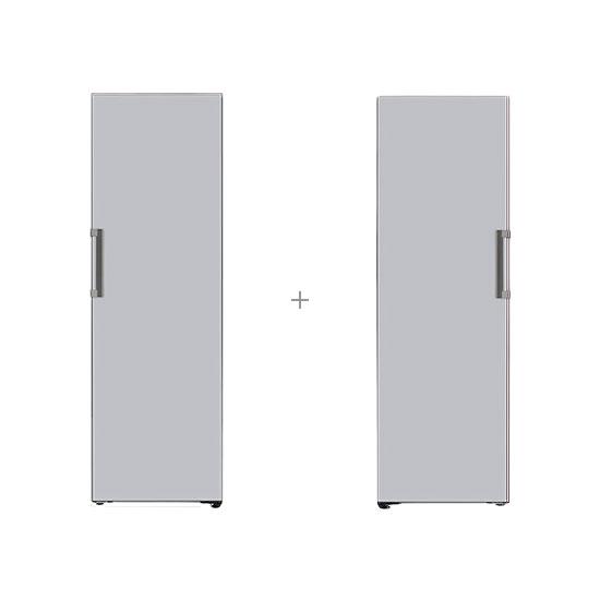 오브제컬렉션 컨버터블 냉장전용고 384L 글라스 실버+오브제컬렉션 컨버터블 냉동전용고 321L 글라스 실버