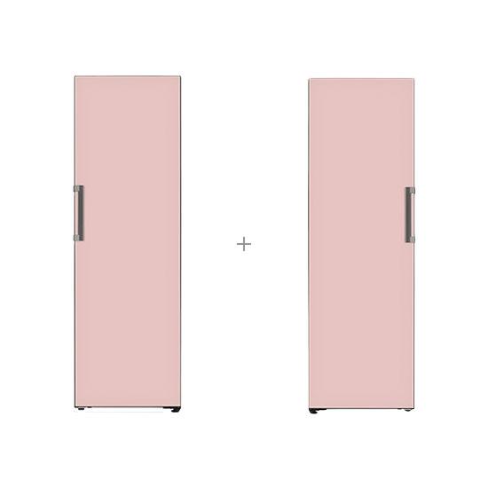 오브제컬렉션 컨버터블 냉장전용고 384L 핑크+오브제컬렉션 컨버터블 냉동전용고 321L 핑크