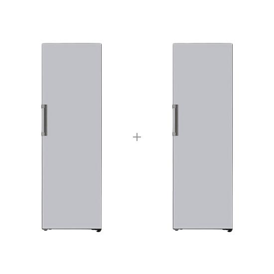 오브제컬렉션 컨버터블 냉장전용고 384L 글라스 실버+오브제컬렉션 컨버터블 김치냉장고 324L 글라스실버