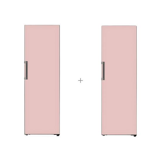 오브제컬렉션 컨버터블 냉장전용고 384L 핑크+오브제컬렉션 컨버터블 김치냉장고 324L 핑크