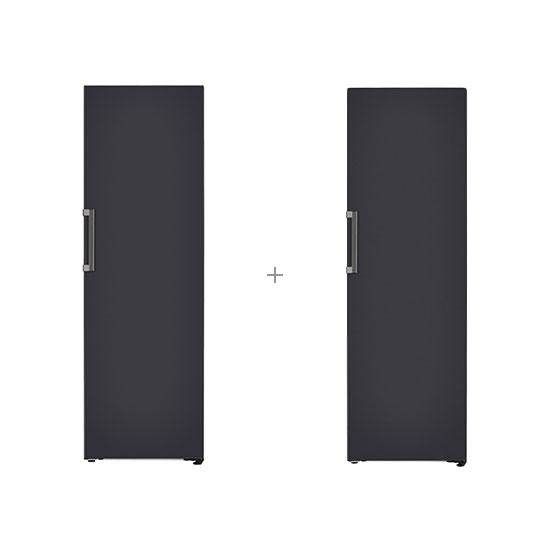 오브제컬렉션 컨버터블 냉장전용고 384L 블랙+오브제컬렉션 컨버터블 김치냉장고 324L 블랙