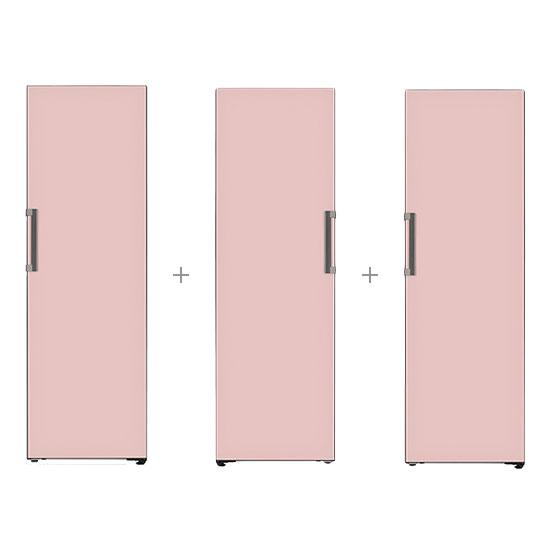 오브제컬렉션 컨버터블 냉장전용고 384L 핑크+오브제컬렉션 컨버터블 냉동전용고 321L 핑크+오브제컬렉션 컨버터블 김치냉장고 324L 핑크