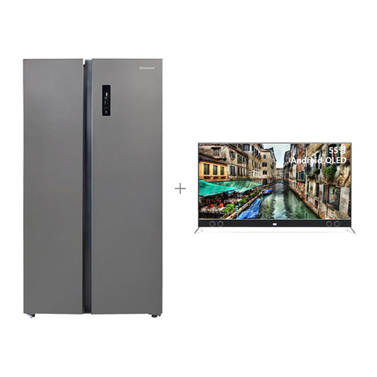 안드로이드 QLED TV 55인치 스탠드형+클라윈드 양문형 냉장고 570L