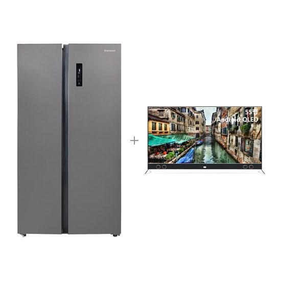 안드로이드 QLED TV 55인치 벽걸이형+클라윈드 양문형 냉장고 570L