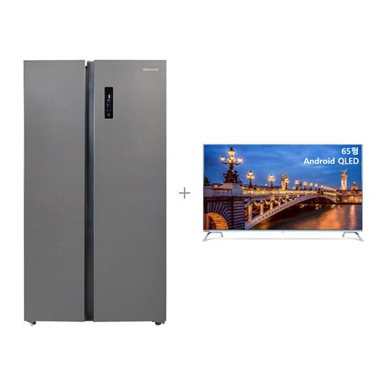 안드로이드 QLED TV 65인치 벽걸이형+클라윈드 양문형 냉장고 570L