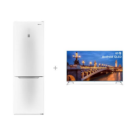 안드로이드 QLED TV 65인치 벽걸이형+클라윈드 콤비 냉장고 295L