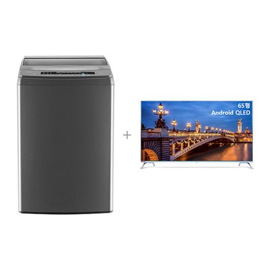 안드로이드 QLED TV 65인치 벽걸이형+클라윈드 통돌이 세탁기 18kg