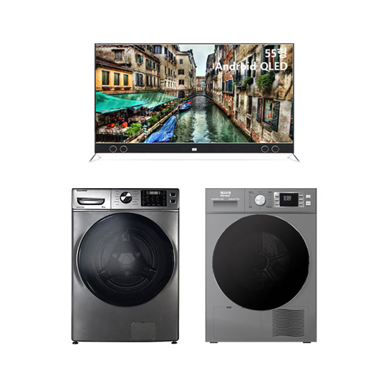 안드로이드 QLED TV 55인치 스탠드형+클라윈드 드럼세탁기 23kg+클라윈드 히트펌프 건조기 10kg