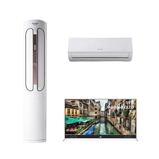 에어로 스탠다드형 에어컨 16평형+6평형+안드로이드 QLED TV 55인치 벽걸이형