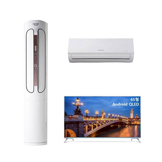 에어로 스탠다드형 에어컨 16평형+6평형+안드로이드 QLED TV 65인치 벽걸이형