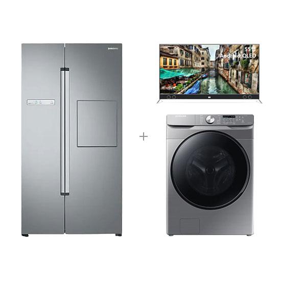 ★파격특가★ 그랑데 세탁기 21kg+지펠 양문형 냉장고 2도어 815L+안드로이드 QLED TV 55인치 벽걸이형